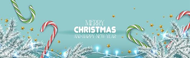 Vektorrealistisches banner frohe weihnachten und ein glückliches neues jahr mit festlichen elementen horizontal orient