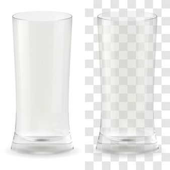 Vektorrealistisches transparentes bierglas. alkohol trinken glas symbol abbildung