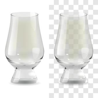 Vektorrealistisches transparentes und isoliertes whisky-glencairn-glas. alkohol trinken glas symbol abbildung