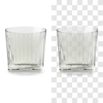 Vektorrealistisches transparentes und isoliertes whisky-snifter-glas. alkohol trinken glas symbol abbildung