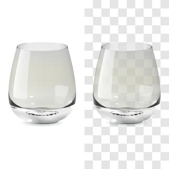 Vektorrealistisches transparentes und isoliertes whisky-tumbler-glas. alkohol trinken glas symbol abbildung