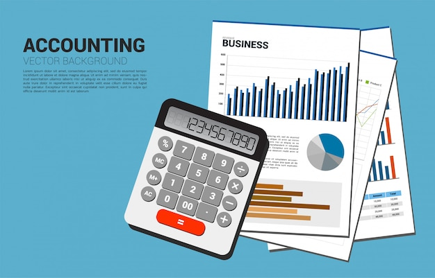 Vektorrechner- und firmendokumentenpapier mit mehrfachem diagramm. konzept für geschäftsinformationsinvestition und -buchhaltung