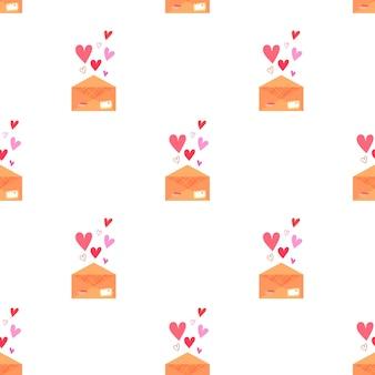Vektorromantisches muster mit einem liebesbriefumschlag mit briefmarken und herzen auf weißem hintergrund