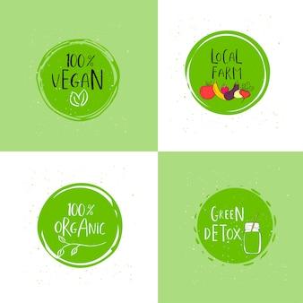 Vektorrundes öko, grünes biologo oder zeichen. veganes, rohes, gesundes lebensmittelabzeichen, tag für café, restaurants, verpackung. handgezeichneter kreis, blätter, pflanzenelemente mit schriftzug. organische designvorlage.