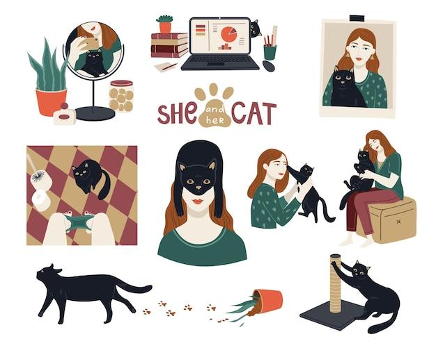 Vektorsammlung des haustierlebens mit mädchen und schwarzer katze. reihe von porträts von glücklichen haustierbesitzern und süßen haustieren. zeichentrickfigur