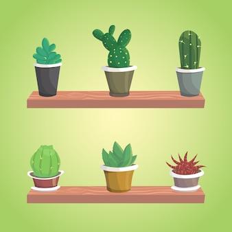 Vektorsammlung des kaktus. niedliche isolierte kakteen.