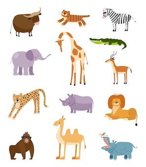 Vektorsammlung mit den größten afrikanischen tieren illustration mit netten tieren für kinder