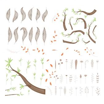 Vektorsammlung schattenbilder von baumasten