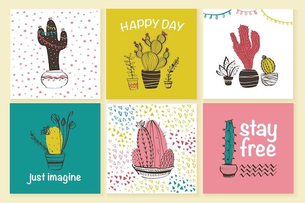 Vektorsammlung süße karten mit handgezeichneten, trendigen abstrakten mustern und kaktus in töpfen isoliert auf weißem hintergrund. textraum, gruß. skizzenstil. gut für drucke, banner, tags etc.