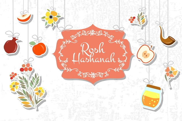 Vektorsammlung von etiketten und elementen für rosh hashanah (jüdisches neujahr). symbol oder abzeichen mit unterschrift