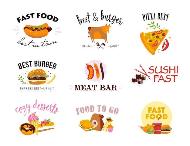 Vektorsammlung von fast-food-logo-vorlagen isoliert