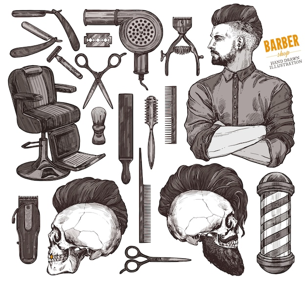 Vektorsammlung von handgezeichneten barbeshop-werkzeugen und zubehör mit hipster-modellmann.
