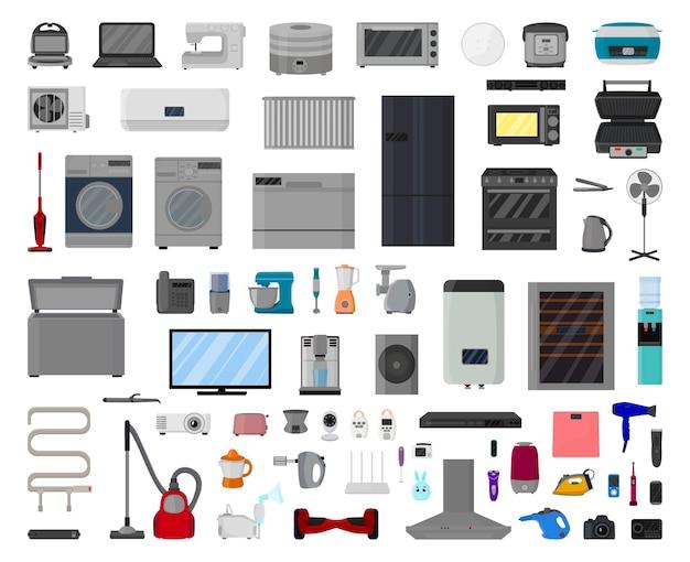 Vektorsammlung von haushaltsgeräten und elektronik