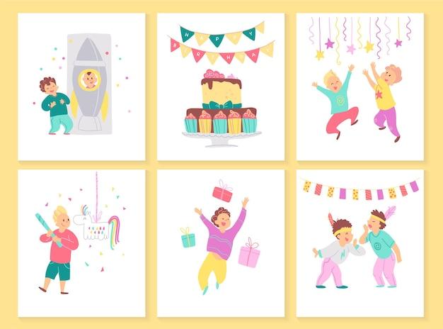 Vektorsammlung von jungengeburtstagskarten mit bd-kuchen, girlanden, dekorelementen und glücklichen kinderfiguren. flacher cartoon-stil. gut für einladungen, tags, poster usw.
