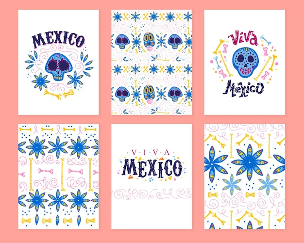 Vektorsammlung von karten mit traditioneller dekoration für die tote party des mexiko-tages. dia de los muertos dekor im flachen handgezeichneten stil. glückwunschtext, totenkopf, florale elemente, blütenblätter, knochen, muster