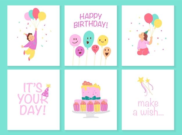 Vektorsammlung von kindergeburtstagskarten mit bd-kuchen, girlanden, dekorelementen und glücklichen kinderfiguren. flacher cartoon-stil. gut für einladungen, tags, poster usw.