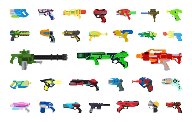 Vektorsammlung von kinderpistolen und maschinengewehren