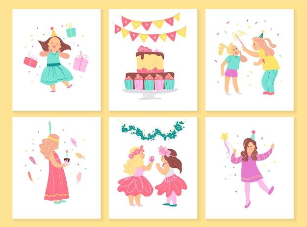 Vektorsammlung von mädchengeburtstagskarten mit bd-kuchen, girlanden, dekorelementen und glücklichen kinderfiguren. flacher cartoon-stil. gut für einladungen, tags, poster usw.