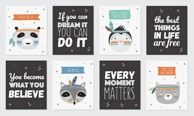 Vektorsammlung von postkarten mit indischen stammestieren gesichtern mit motivierendem slogan