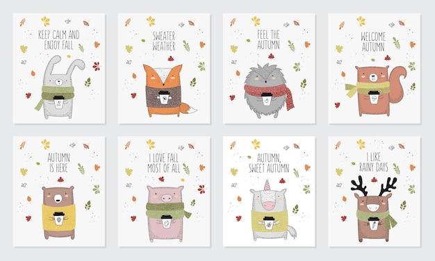 Vektorsammlung von postkarten mit strichzeichnungstier im pullover und slogan über den herbst