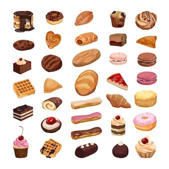 Vektorsammlung von realistischen kuchen, gebäck und anderen süßigkeiten. set backen.