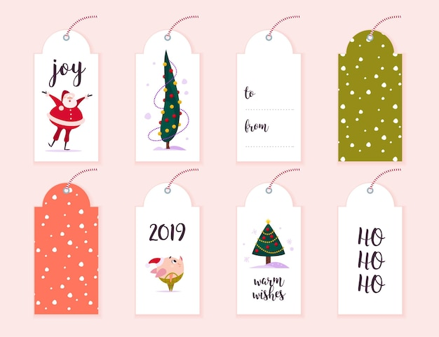 Vektorsammlung von weihnachtsgeschenkanhängern und -abzeichen lokalisiert auf hellem hintergrund. embleme für weihnachtsferien präsentiert verpackung. muster, textplatz, glückwünsche, neujahrs-charakterdesign.
