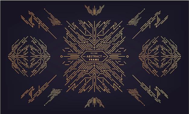 Vektorsatz abstrakter geometrischer gestaltungselemente, luxusweinlese-artdeco-dekorationen, teiler. rahmen im linearen stil. monogramm geometrische banner, luxuriöses verpackungsdesign