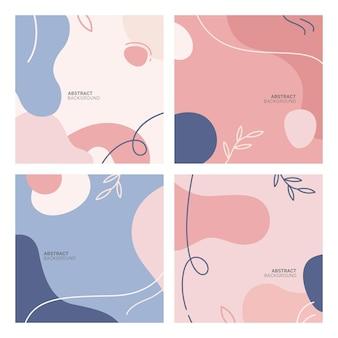 Vektorsatz abstrakter kreativer hintergründe im minimalen trendigen stil