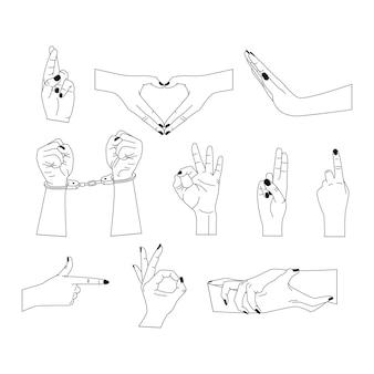 Vektorsatz abstrakter logo-designvorlagen in einfachen linearen stilhänden in verschiedenen gesten