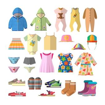 Vektorsatz babykleidung in der flachen art. kinderbekleidungssammlung design.