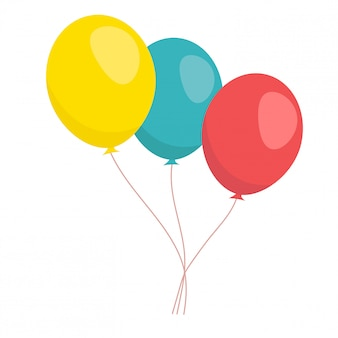 Vektorsatz ballone in der flachen art. ballons isoliert symbol