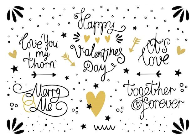 Vektorsatz beschriftung für valentinstag