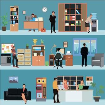 Vektorsatz büroinnenfahnen in der ebene. geschäftsleute und büroangestellte. empfangsraum der firma