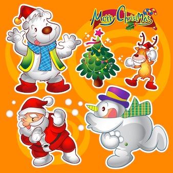 Vektorsatz bunte nette weihnachtszeichen und -dekorationen