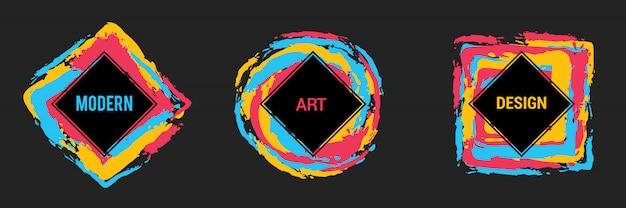 Vektorsatz bunte rahmen für text, grafiken der modernen kunst, hippie-art