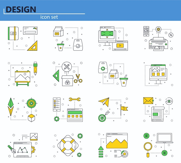 Vektorsatz computer-, geschäfts-, büro- und designikonen. symbol für website und mobile web-apps