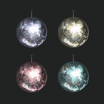 Vektorsatz der blauen, gelben, rosa und lila discokugeln lokalisiert auf dunklem hintergrund
