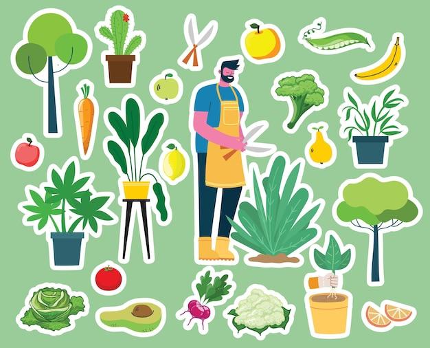 Vektorsatz der dorfbewohner, die mit bio-öko-lebensmitteln, blumen und pflanzen im flachen design im garten arbeiten