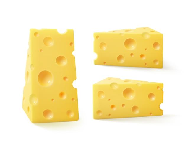 Vektorsatz der dreieckigen stücke des schweizer käses auf weiß