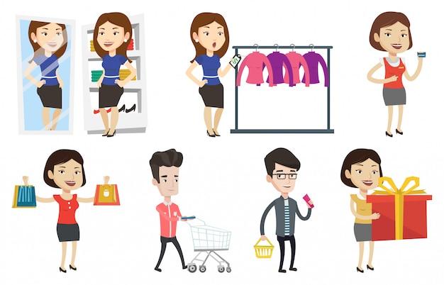 Vektorsatz der einkaufsleutecharaktere.