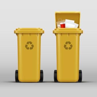 Vektorsatz der gelben papierkörbe für die papierabfallsortierung