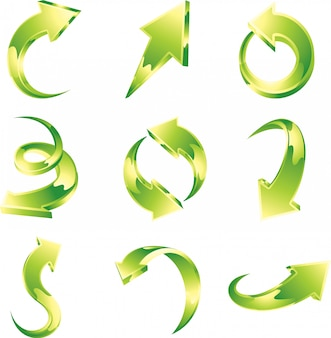 Vektorsatz der grünen pfeile