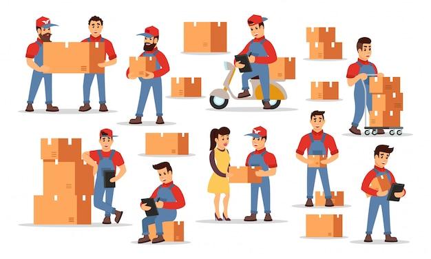 Vektorsatz, der höhepunkte von lieferservices darstellt, die preis zählen