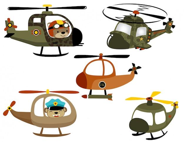 Vektorsatz der hubschrauberkarikatur mit lustigem piloten