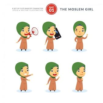 Vektorsatz der karikaturbilder des muslimischen mädchens. erstes set. isoliert