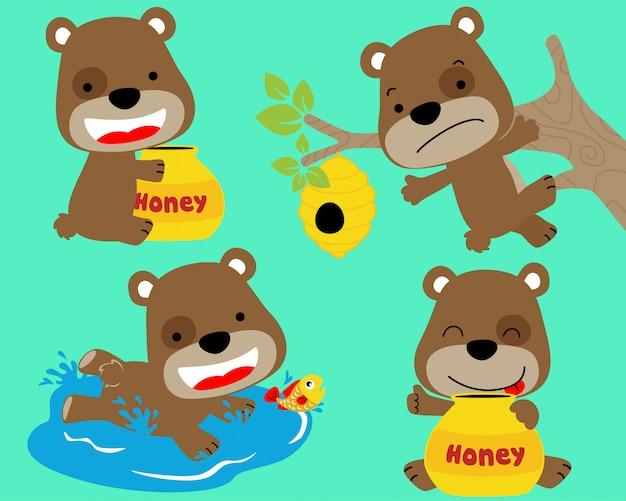 Vektorsatz der kleinen bärenkarikatur