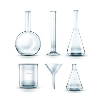Vektorsatz der leeren chemischen laborflaschen des transparenten glases, des trichters und des reagenzglases lokalisiert auf hintergrund