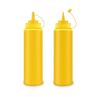 Vektorsatz der leeren gelben plastik-senfflasche für branding ohne etikett auf weiß