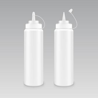 Vektorsatz der leeren weißen mayonnaise-senfketchupflasche aus kunststoff für das branding ohne etikett
