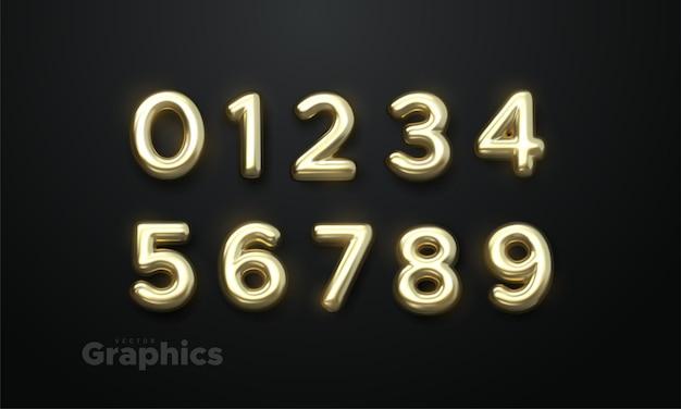 Vektorsatz der leuchtenden goldenen realistischen 3d-zahlen